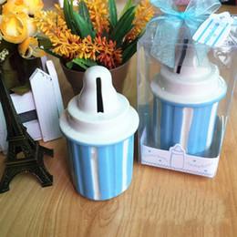 Mini feed online shopping - Mini Saving Boxes Originality Piggy Bank Ceramics Feeding Bottle Coin Money Box Shower Gifts Wedding Souvenirs hld C R
