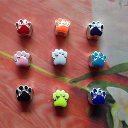 Discount plate fittings - 2016 New Hot Mic 9 Colors Silver Plated Enamel Bear Paw Print Big Hole Beads Fit European Bracelets