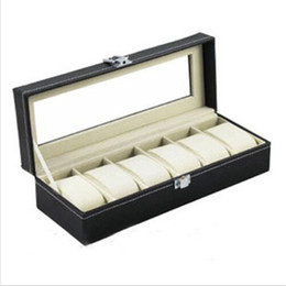 China Wholesale- 6 Grid Jewelry Watch Collection Display Storage Organizer Leather Box Case Storeage Accessories cheap jewelry accessory organizer suppliers
