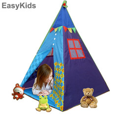 Discount kids safety games - Portable Indian Pattern Toys Tent Play Teepees Safety Tipi Playhouse Activity House Kids Funny Indoor Game Outdoor Beach
