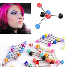 surgical steel nipple rings Canada - Lot Mixed Acrylic 316L Surgical Steel Glitter Mix Color Design Tongue Nipple Bar Ring Barbell Body Piercing Jewelry