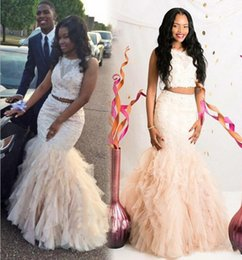 2k15 mermaid prom dresses NZ - Sexy Two Pieces Prom 2K15 Dresses Mermaid Crew Neck Lace Applique Ruffle Evening Gowns Custom Made
