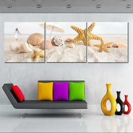 Mushroom Pictures Canada - Wall Picture Unframed 3 Pieces Living Room Canvas Prints sandy beach Starfish shell Cartoon mushroom forest leaf mountain brook fish tree