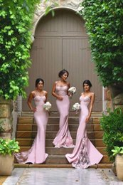 2016 New Mermaid Long Junior Bridesmaid Dresses Sexy Spaghetti Straps Lace Applique Party Gowns African Maid of Honor Dress Plus Size Custom on Sale