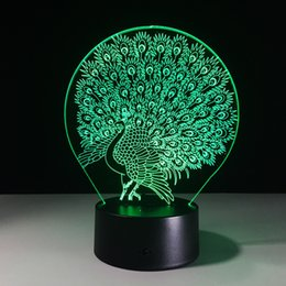 Discount peacock ball - 2017 Brand New Peacock 3D Illusion Night Lamp 3D Optical Lamp AA Battery DC 5V Dropshipping