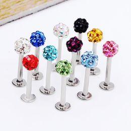 Body jewelry L24 50pcs Mix 10 Colors Body Piercing Jewelry Shamballa Disco Ball labret stud labret jewelry on Sale