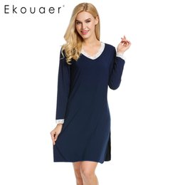 Robes De Salon En Gros Pas Cher-Vente en gros- Ekouaer Chemises de nuit Nightskirt Femmes V Neck Chemise à manches longues Dentelle Trimmed Lounge Dress Casual Skirts Lace Sleepwear