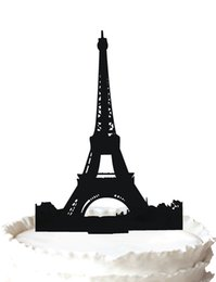 eiffel cake topper Australia - The Eiffel Tower (La Tour Eiffel)Silhouette wedding acrylic toppers for cake decoration favor,37 color for option Free Shipping