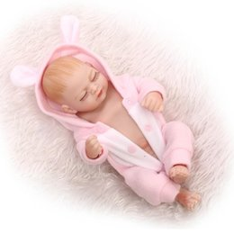Discount mini full silicone baby doll - 2017 New 27CM Mini Bebe Reborn Full Body Silicone Reborn Babies with Pink Jumpsuits Boneca Toys for bebe Girls Gift Jugu