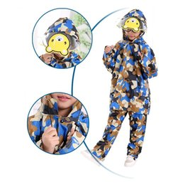 Waterproof Raincoat Camouflage Canada - 35pcs M-XXXL Colorful Camouflage Pattern Kids Raincoat Evironment Waterproof Rainwear Rain-proof Pants Student Rain Suit Poncho ZA0499