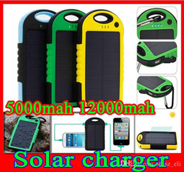 high capacity power bank chargers Australia - high capacity waterproof solar charger 5000mah 12000mah shockproof dustproof solar charger battery 2 Port Solar Panel Power Bank Flashlight