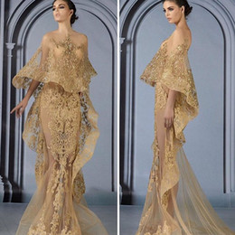 Wholesale Mermaid Champagne Prom Dresses Lace Appliques with Jacket Beading Sequins Illusion Formal Evening Dresses Arabic