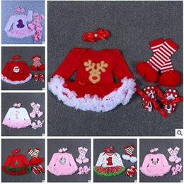 Barato Conjuntos Arruinados De Inverno-Baby Boys Romper Set Inverno Recém-nascido Baby Christmas Romper Ruffle Lace TUTU Dress Headband Leg Warmers Baby First Walkers Shoes Party Dress