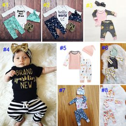 Pantalon À Manches Longues Pas Cher-Bébé garçon fille INS lettres bande Costumes enfants Toddler infantile occasionnel court à manches longues T-shirt + pantalon + chapeau 3 pcs ensembles pyjamas vêtements B
