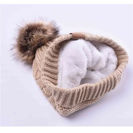 Chinese  Woman Winter Hat Beanie C Faux Fur Pom Pom Ball For Hats Knitted Skully Warm Ski Hat Trendy Soft Brand Thick Female Caps manufacturers