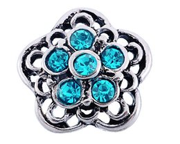 Snap Drill Canada - DIY snap button noosa chunks ancient silver blue rhinestone flowers in the shape of hollow drill about 4.5mm DIY 16x15mm metal buttons