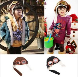 Barato Piloto Do Bebé Bone-110pcs New Cute Baby Toddler Boy Girl Kids Pilot Aviator Cap Quente Chapéus Earflap Beanie Melee R051