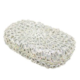 $enCountryForm.capitalKeyWord Australia - Gift Box Brand Women Clutches Crystal AB Metal Silver Evening Clutch Bags Wedding Dress Bridal Handbags Bolsa Festa de Noche
