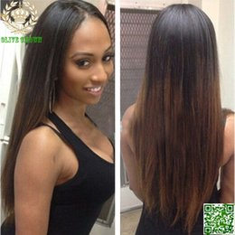 $enCountryForm.capitalKeyWord NZ - Dark Brown Ombre Full Lace Human Hair Wigs 100% Human Hair Malaysian Lace Front Wig Two Tone Silky Straight Hair Glueless Lace Wig