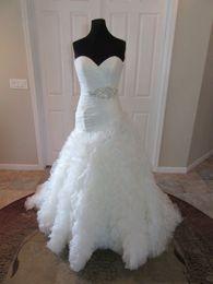 Customized Skirts NZ - Organza Wedding Dress Sweetheart Ruched Bodice Crystals Beaded Ruffles Skirt Customized Vestido De Noiva Casamento COR-1109