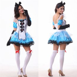 Barato Trajes Sexy De Alice-Alice In Wonderland Jogo de papéis Spaghetti Strap Dress Sexy Cosplay Halloween Costumes Uniform Temptation Stage Performance Clothing