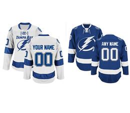 Персонализированные мужские Тампа Бэй молнии пользовательские хоккей премьер трикотажные изделия высокого качества сшитые пользовательские любое имя номер