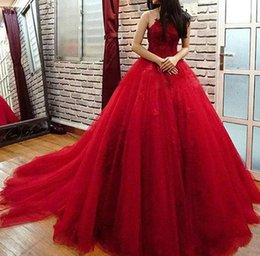 Barato Formals Vermelhos Baratos-Elegant Red Cheap Quinceanera Vestido Jewel Lace Applqieu Sheer Back Masquerade Vestido de baile Sweet 16 Dresses For 15 Years Prom Vestido formal