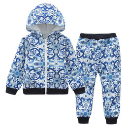 Fall clothes For toddlers online shopping - Classic Floral Tracksuits for Girls Fall Casual Designer Hoodie and Pants Set Boutique Children Clothes Trendy Toddler Clothing Sets