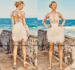 Discount wedding dress separates - Elbeth Gillis Milk Honey 2017 Bridal Separates Illusion Long Sleeves Aline Short Wedding Dresses Fully Feather Lace Mini