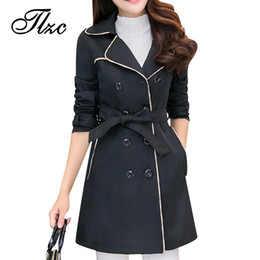 black lady trench coats Australia - Korean Women Trench Coats Fashion Adjustable Waist Plus Size M-4XL Winter Autumn Spring Black   Khaki Lady Long Outwear