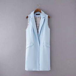 9a3dc71ba14a5 Women sleeveless blazers online shopping - Women Sleeveless Long Vest  Colors Office Lady Turn down Collar