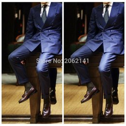 Barato Terno Azul Adaptado-Atacado-Moda Homens Royal Blue Suit Double Breasted Casamento SUit para homens Custom Made Groom Tuxedos Tailor Made costume homme