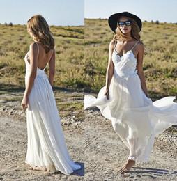 Hot Sexy White Dresses Australia - Hot Sale White Chiffon Wedding Dress Sexy V Neck Spaghetti Lace Bridal Dresses Sheath Backless Mordern Beach Wedding Dress 2017 Vestidos