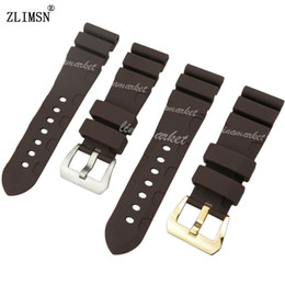 62bbc2424ee 24mm Silicone Rubber Watch Band Strap for PANERAI Yellow Diving Men Black  Brown BAND Strap With Pin Buckle Sweatband Wrist Men Women