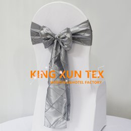 Used chair covers for weddings online shopping - 100pcs Taffeta Pintuck Chair Sash Chair Bow Used On Banquet Spandex Chair Cover For Wedding Decoration