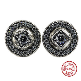 Allure Vintage Pas Cher-2016 Vintage Allure, Clear CZ 100% 925 boucles d'oreille en argent sterling Fit Pandora Charms boucle d'oreille authentique DIY Bead Fine Jewelry