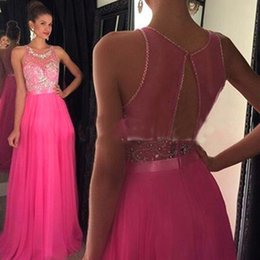 Barato Vestidos Formais De Tule-Fast Shipping Prom Dress 2017 O-Neck A Line Tulle Chiffon Tank Sleeveless Formal Evening Party Graduação Long Evening Gowns