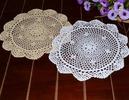 Kitchen Place Mats Australia - Wholesale- 36CM Round DIY crochet table place mat cloth pad lace cotton placemat doilies cup glass coaster mug holder hot kitchen supplies