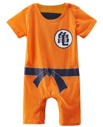 Barato Macacões De Dragão-Baby Boy Dragon Ball Z Romper Goku Traje engraçado Infantil Cosplay Playsuit Short Sleeve Cotton O Neck Jumpsuit Outfit