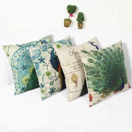 China 45*45cm Real High Qulity Peacock Cushion Covers Vintage Decorative Pillowcase Linen Square Cushion Cover for bed Sofa Decor suppliers