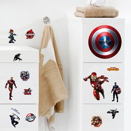 Wall Stickers For Boys Rooms Canada - The Avengers Cartoon DIY Captain America Wall Stickers For Kids Rooms Marvel Super Hero Wall Decals Computer sticker Boys Gift