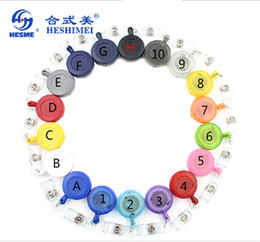 """retractable id key chain 2019 - Wholesale-Best Quality!!! 50pcs lot Free Shipping adjustable 27"""" Round Retractable ID Reel Key Chain Badge Holder d"""