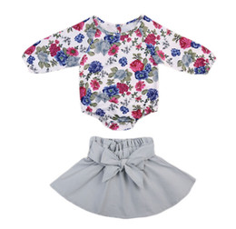 Floral petals online shopping - Ins Baby girl clothes Floral Jumpsuit Balloon sleeve Petal Bow skirt set Top Romper Baby girls clothes Spring Autumn