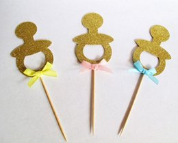 $enCountryForm.capitalKeyWord NZ - 30pcs Custom personality Gold Glitter Baby Pacifier Cupcake Toppers Baby shower wedding dummy Food Picks birthday party decorations