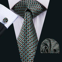 Brown Tie Hanky Sets NZ - Classic Silk Mens Ties Checks Mens Necktie Blue&Brown Tie Set Tie Hankerchief Cufflinks Jacquard Woven Meeting Business Wedding Party N-1543