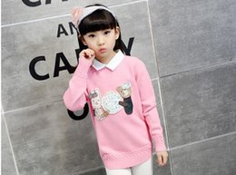 Llevar De Punto Baratos-Winer Niños Sweater Girl Lovely Cartoon Oso Sweater Niños Knitted Bottoming Camisa Niños Ropa Baby Sweater 5 p / l