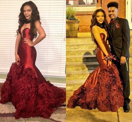rachel allan mermaid 2019 - Sexy Prom Dresses Maroon Burgundy Strapless Sleeveless Mermaid Ruffles Skirt Evening Dresses Wear Custom Made Inspired B