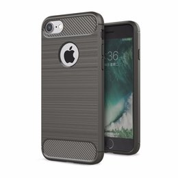 Chinese  Brushed Carbon Fiber Hybrid Slim Soft Silicone TPU Shockproof Case For iPhone 8 6 6S 7 Plus iPhone8 Huawei P8 P9 Lite Samsung Galaxy S7 Edge manufacturers