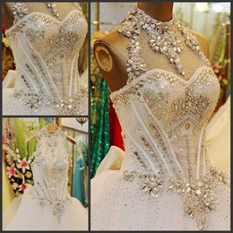 $enCountryForm.capitalKeyWord Canada - Bling Bling Ball Gown Wedding Dress Halter Sleeveless Lace up Back Sweep train Glorious Fancy Wedding Dresses Ivory Bridal Gowns