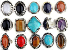 $enCountryForm.capitalKeyWord Canada - Bulks 30pcs Mixed Silver P Faux Big Gem Stone Turquoise Rings Wholesale Jewellery Lots For Women Free Shipping
